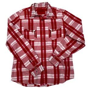 Red/White Plaid Guess LS Button Down Shirt - Sz M